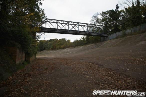 The remains of the Brooklands oval racing circuit, Weybridge, Surrey, United Kingdom
